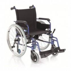 Silla de ruedas plegable de aluminio color azul
